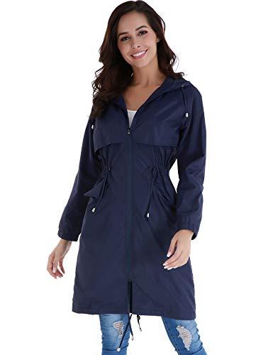 FISOUL Raincoats Waterproof Rain Jacket Active Outdoor Hooded Women's Trench Coats - Blue - Small