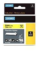 Dymo Rhino Original flexible Tape 24mm Black on Yellow