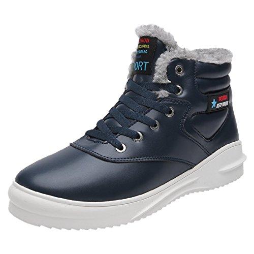 Sixspace アウトドアシューズ メンズ 防水 スノーブーツ 防寒 ウィンターブーツ 冬用 綿靴 滑り止め ショート スノーシューズ キャンプ シューズ ブルー 27cm