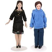 homyl 2pieces 1 / 12scale人形Houseミニチュア磁器人形オスとキャリアの女性のブラックドレスガールズLover