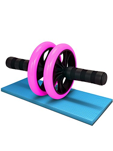LICLI 腹筋ローラー 「簡単 筋トレ コンパクト 健康器具 」「安心の取扱説明書 製品保証あり」「静音 高耐久性 膝クッション付き」「 お腹 ダイエット アブローラー 」 4色 (ピンク)