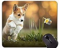 マウスマットマウスパッド、ペット子犬子犬犬 - ステッチエッジ
