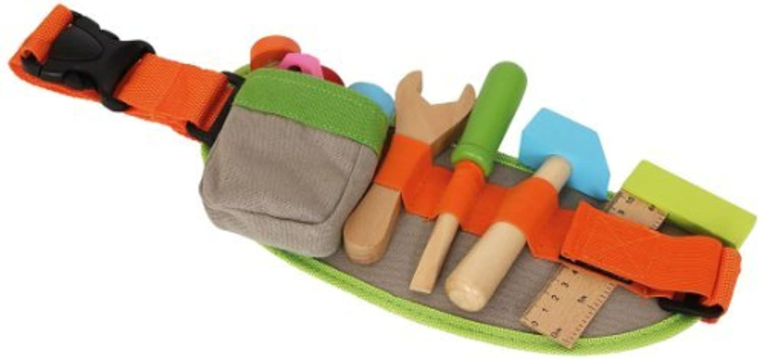 Toddlers Coloured Wooden Tool Toy Belt - Includes Securing Buckle by Legler [並行輸入品]