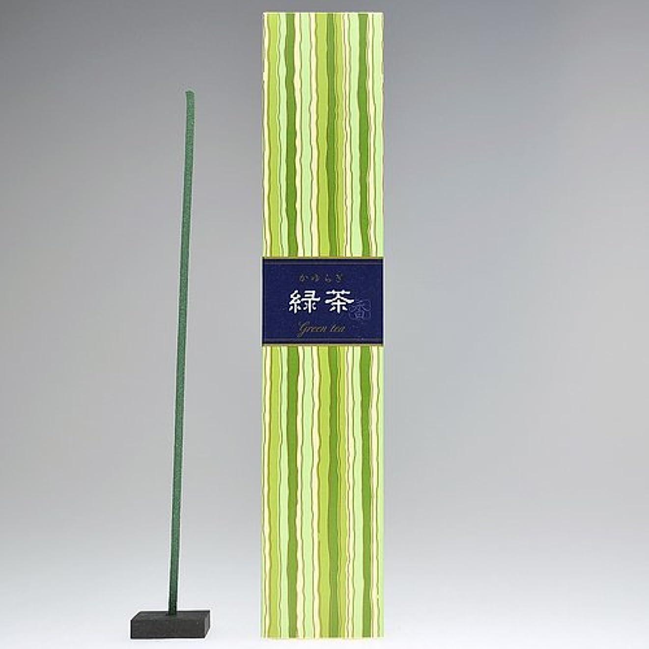奴隷ウィンク人里離れた日本香堂  かゆらぎ 緑茶スティック40本入 香立付