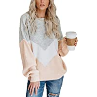 Relipop Women's Knitwear Jumper Crewneck Baggy Long Sleeve V-Shape Color Block Loose Knit Pullover Sweater