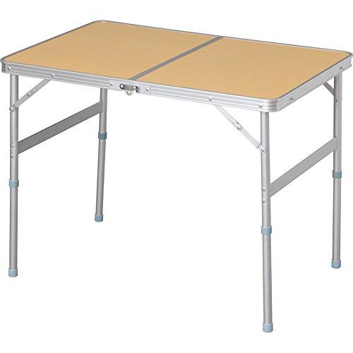 アイリスプラザ テーブル アウトドア 幅90×奥行60×高さ70~39cm ナチュラル