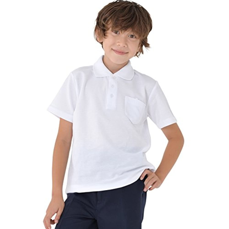 児童 子供 半袖 スクール ポロシャツ 白 キッズ 鹿の子 ポロ 男女兼用 小学生 制服