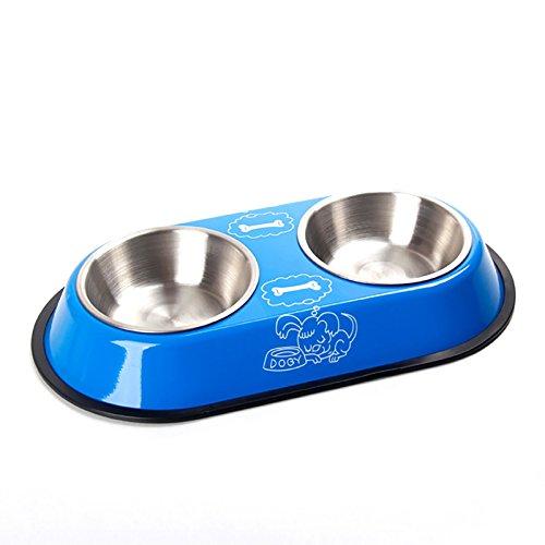 PETCUTEペット用 二つステンレス製ボウル フードスタンドセット 食器 給水器 給餌器 水おやつご飯入れ コンテナー 両用 シンプルおしゃれ 犬猫対応 ワンチャン 猫ちゃん 青