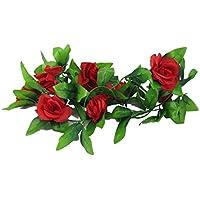 【ノーブランド品】 インテリアフラワー つるバラの 造花 2.4m × 4本セット レッド ディスプレイなどに