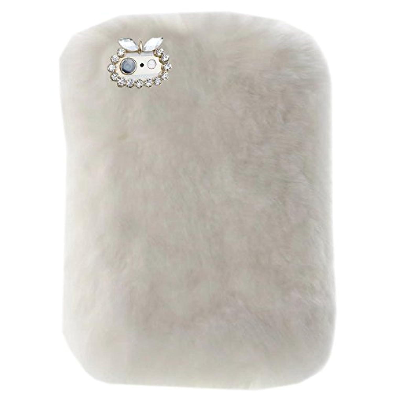 スーパーデラックスラグジュアリー冬ファッションBlingラインストーンFuzzy Faux Rabbit Furry FluffyビーバーRex Rabbit Fur保護ケースfor Apple iPad Pro 10.5インチ2017 ホワイト