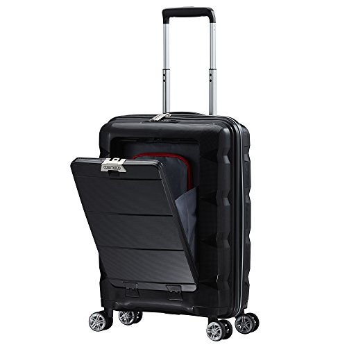 TABITORA(タビトラ) スーツケース メーカー1年保証 機内持込 フロントオープン キャリーバッグ TSAロック搭載 旅行用品 出張 超軽量 静音 8輪 ブラック