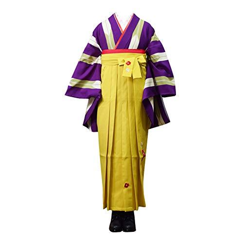 袴 セット 卒業式 女性 3点セット「二尺袖:紫色×抹茶色 矢絣+袴:レモンイエロー 椿の刺繍+袴下帯:赤・緑・黄色・ピンク」Sサイズ