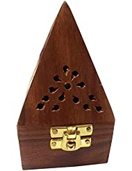 Wooden Classic Pyramid Style Burner (Dhoop Holder) With Base Square and top Cone Shape,Wooden Incense Burner Box