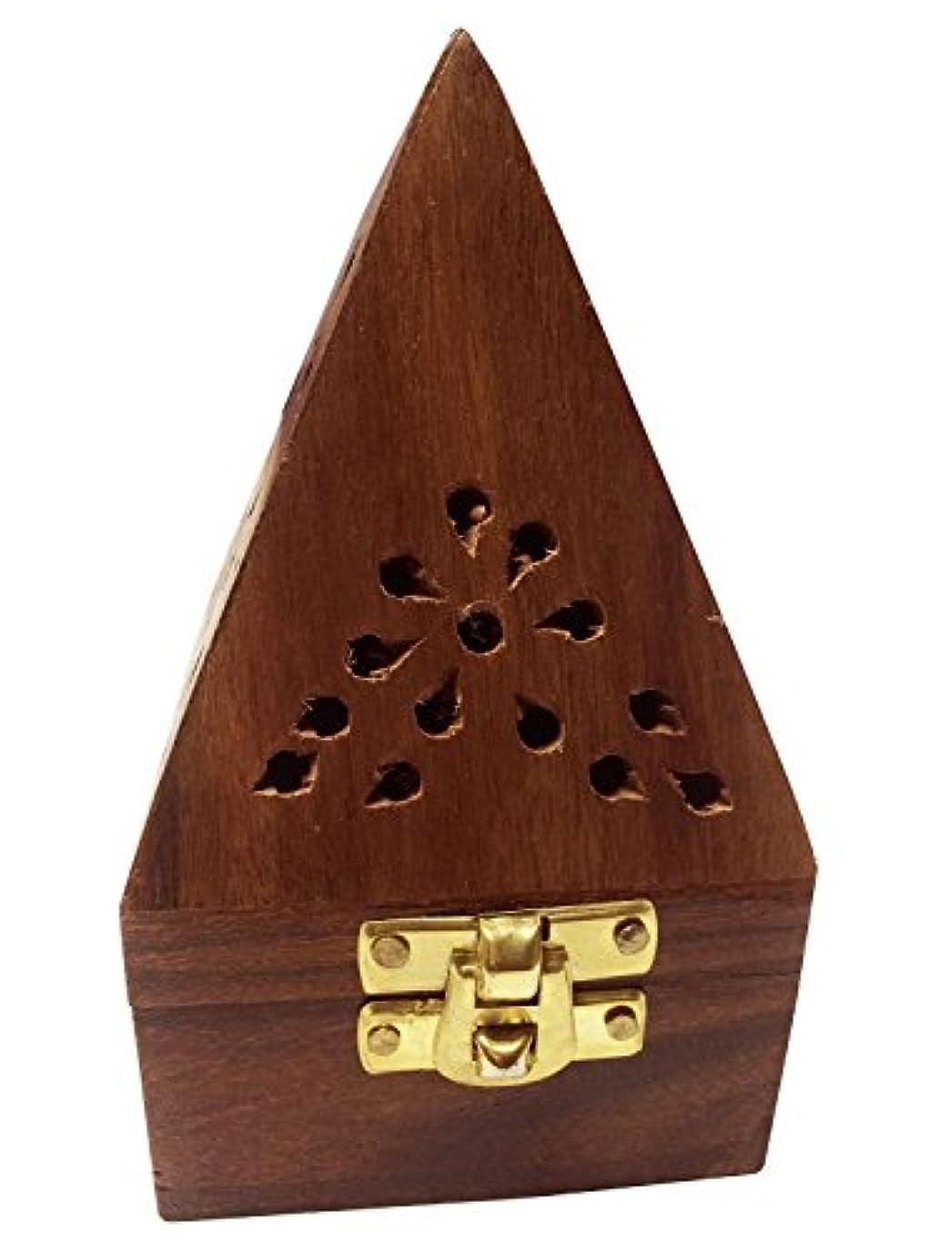 幸福舌噂Wooden Classic Pyramid Style Burner (Dhoop Holder) With Base Square and top Cone Shape,Wooden Incense Burner Box