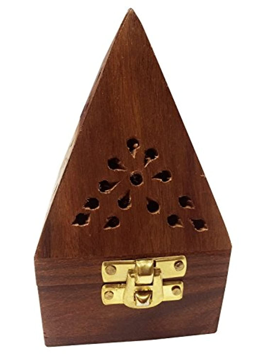 義務づけるジャーナルタイヤWooden Classic Pyramid Style Burner (Dhoop Holder) With Base Square and top Cone Shape,Wooden Incense Burner Box