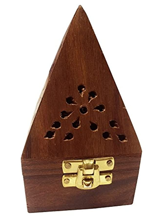 銀ガラガラ作者Wooden Classic Pyramid Style Burner (Dhoop Holder) With Base Square and top Cone Shape,Wooden Incense Burner Box