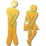 浴室トイレ男性女性装飾アクリルDIY金3個/セット用のミラー3D効果のステッカーの壁紙