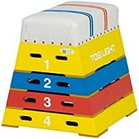TOEI LIGHT(トーエイライト) カラー跳び箱4段 下幅55(上幅30)×奥行60×高さ60cm 4段 上部ライン入帆布 小学校向 T2866 T2866