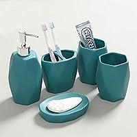 5 創造的なセラミックの浴室付属品ピースセットには石鹸ディスペンサー歯ブラシ ホルダー ローション ディスペンサー カップが含まれています-C