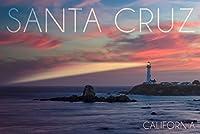 Santa Cruz、カリフォルニア–Lighthouse at Sunset 9 x 12 Art Print LANT-56896-9x12
