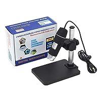 ポータブルUSBデジタル顕微鏡500Xデジタル顕微鏡内視鏡拡大鏡カメラ+リフトスタンド+キャリブレーションルーラー-ブラック