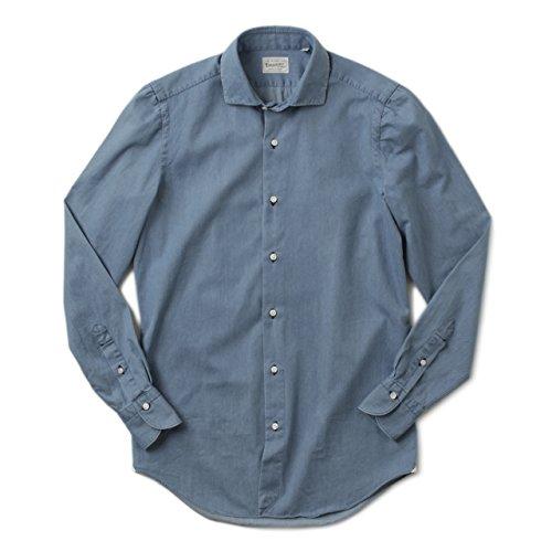 Finamore フィナモレ メンズ ドレスシャツ ワイドカラー デニムシャツ JAMES 1019542 BLUE 41