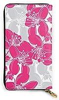 本革財布ロングレディース財布ハンドバッグマルチカードホルダーオーガナイザー用女性エレガントな手描き桜の花要素カスタマイズ