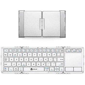 iClever キーボード 折り畳み Bluetooth usb タッチパッド 3つデバイス同時切替可能 スタンド ミニキーボード アルミ Windows Android iOS Mac 対応 IC-BK08 (銀)