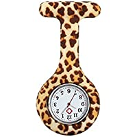 Lovke Fob Watches for Nurses Hanging Watch Fashion Coloured Patterned Silicon Fob Watches (Leopard)