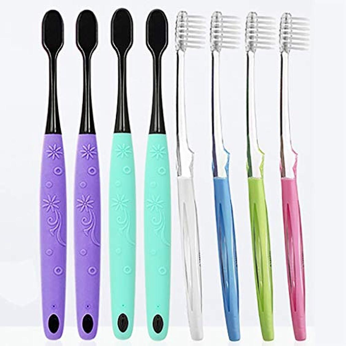 ライナークスクス住居大人歯ブラシ、柔軟なブラシヘッド、看護ガム用歯ブラシ、8パック(ランダムカラー)