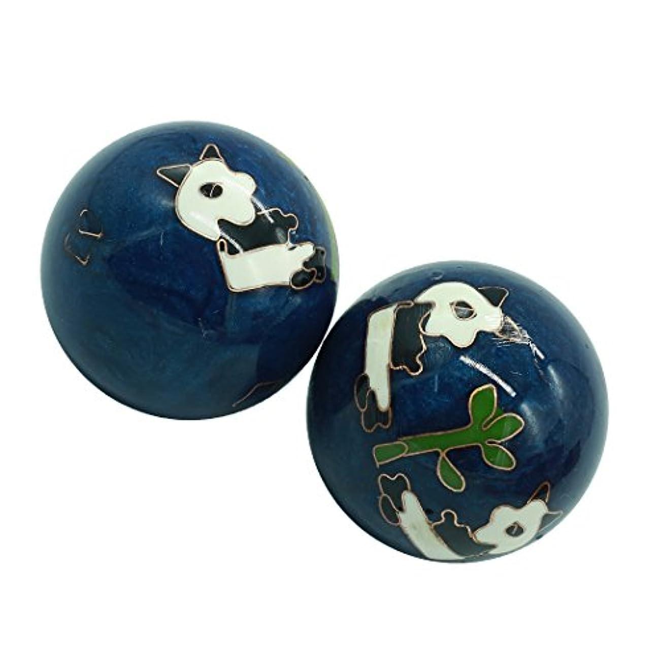 アンタゴニストバルコニー愛人風水グッズ 健康球 健身球 脳 活性 ストレス トレーニング器具 手の機能回復 2個 パンダ (青い, 35mm) INB167