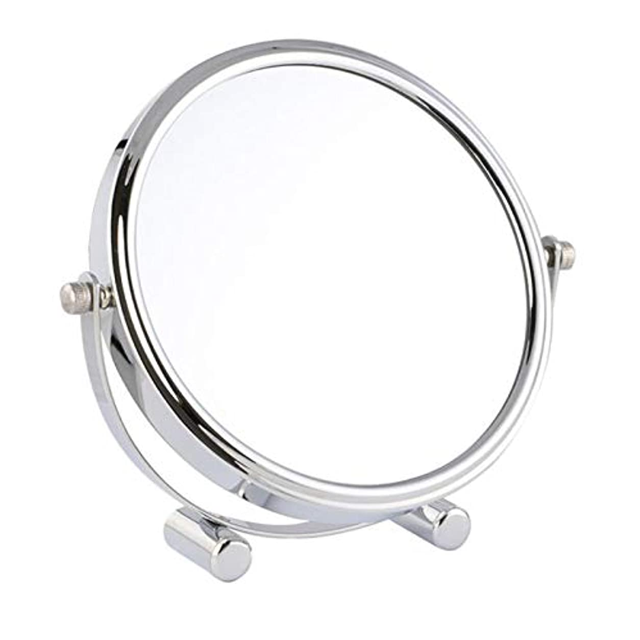 中間慎重に辞任化粧鏡 女優ミラー けメイクミラー スタンドミラー 卓上鏡 化粧道具 両面鏡 片面2倍 拡大鏡 360度回転 鏡面直径17cm