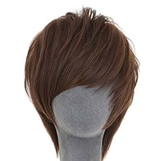 メンズ ウィッグ 短い髪 ハンサム 男性 ふわふわ 毛 かつら コスプレ ウィッグ ダークブラウン