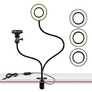 セルフリングライト付きLogicool WEBカメラ ホルダースタンド 用 Logicool C922x C930e C920 C930 C922 C615 携帯電話 柔軟なスタンド