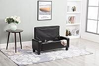windaze Ottoman Bench Rectangular Folding Storage with PU Leather Foam Seat, Black [並行輸入品]