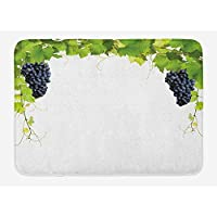 IACC ブドウ園のバスマット、大きな果実のルーズバンチとワインの葉タンニンはフランスの村のイメージ、非スリップバッキング、23.6