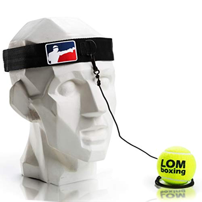Lom FightボールReflex、ボクシングボール、レッドブルーデザイン、ボクシング機器、トレーナー、ワークアウト、フィットネス、ボクシングヘッドバンド用文字列、すべての年齢のボクシングテニスボール速度パンチ、Punchingボール