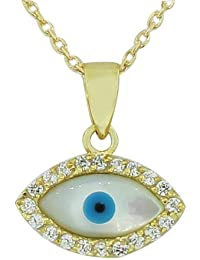 925 Sterling Silver Yellow Gold-Tone Simulated Mother-of-Pearl Evil Eye Pendant Necklace