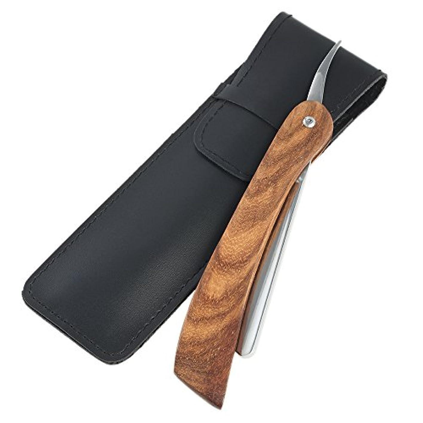 全体仕事に行く低下理容カミソリ ヴィンテージ木製ハンドル 折りたたみナイフ クラシックサロンの理髪師ストレートスロートシェービング剃刀シェービングヘアカットツール
