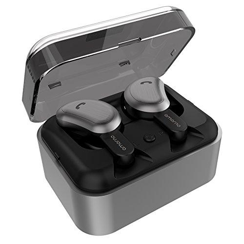 【進化版Bluetooth CVCノイズキャンセル6.0技術 Siri対応 】Bluetooth イヤホン 完全 ワイヤレス イヤホン 両耳通話対応 Amorno Bluetooth イヤホン Hi-Fi 高音質 ノイズキャンセリング マイク内蔵 自動ペアリング 充電式収納ケース付き iPhone & Android適用 左右分離型 (最新モデル)