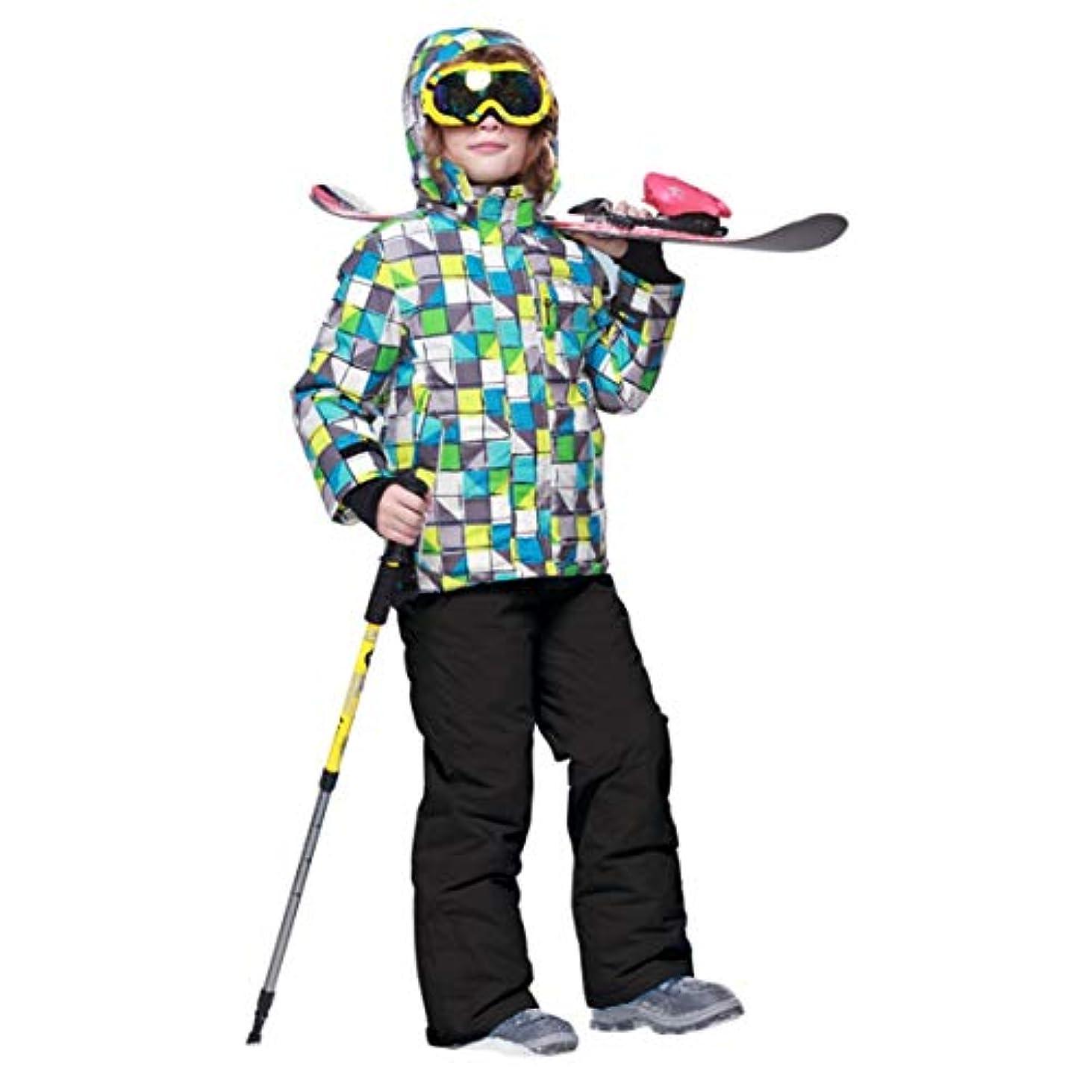 各教会ジャズ子供キッズボーイズ/ガールズスキースーツ防水パンツ+ジャケットセットウィンタースポーツ厚手の服子供用スキースーツ-黒158/164