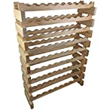 OZ BCP 81 Bottle Stackable Modular Wine Rack Wooden Timber Wine Storage Rack Free Standing Wine Holder Display Shelves, Wobble-Free, Solid Wood, (9 Row, 81 Bottle Capacity) (Natural)