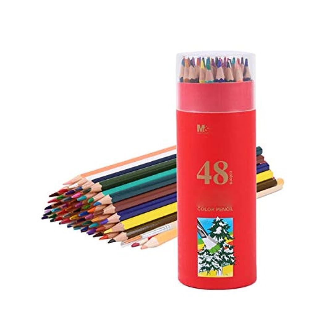 寛大な特権的リレーペイントブラシ、木製六角形ウッドグリップペン快適なペイントツール、鉛筆スタイル手書きソフトとクリア子供/大人のペイントツール(48色、19 * 7 cm) (Color : 48 colors, Size : 19*7cm)