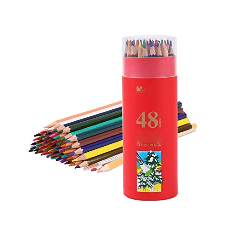 湾フェデレーションシロナガスクジラHongyuantongxun001 ペイントブラシ、木製六角形ウッドグリップペン快適なペイントツール、鉛筆スタイル手書きソフトとクリア子供/大人のペイントツール(48色、19 * 7 cm) カジュアルな絵画 (Color : 48 colors, Size : 19*7cm)