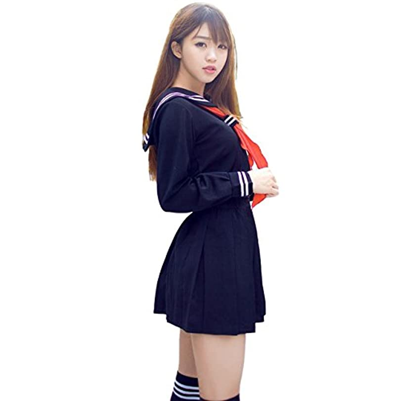 ウール退屈させるリード(アクアランド) AQUALAND セーラー服 コスプレ 女子高生 JK 学生 コスチューム 定番 人気 スカート リボン ハイソックス 付き 4点セット (XXLサイズ)