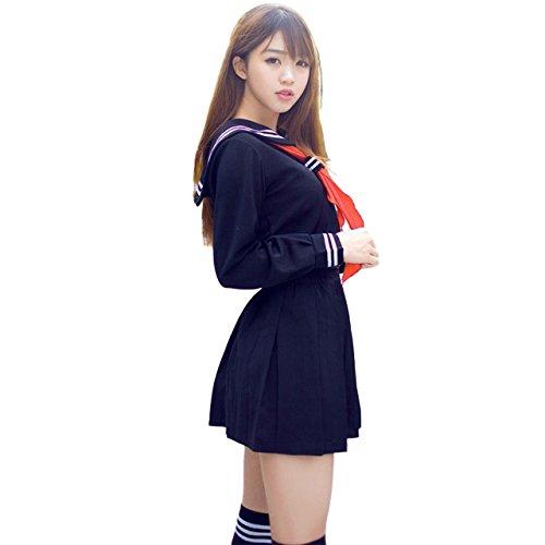 (アクアランド) AQUALAND セーラー服 コスプレ 女子高生 JK 学生 コスチューム 定番 人気 スカート リボン ハイソックス 付き 4点セット (Lサイズ)