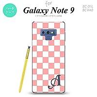 Galaxy Note 9 SC-01L SCV40(ギャラクシー ノート 9) SC-01L SCV40 スマホケース カバー ハードケース スクエア 白×ピンク イニシャル対応 V nk-note9-765ini-v