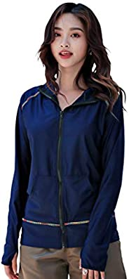Teddy hys2334 Women's Rash Guard, Long Sleeve, Hoodie, Body Cover, Sun Protection, UPF 50+, With Finger H