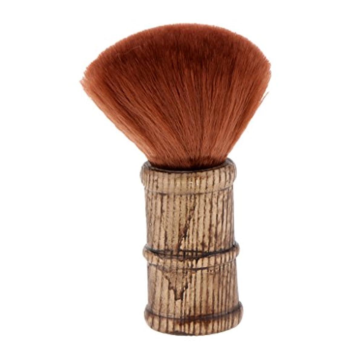 震え光電尋ねるネックダスターブラシ ヘアカットブラシ 理髪師 サロン スーパーソフト メイクアップ 2色選べる - 褐色