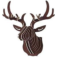 LEO BON JP オブジェ 鹿 頭 動物 アンティーク 壁 インテリア 置物 3D DIY 木製 ディア シフゾウ 壁飾り 壁掛け アニマルヘッド(コーヒー)